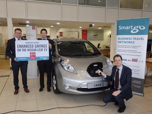(from L-R) William Wiggins from Nissan, Phil Saunders from Go Travel Solutions and Russell Higgins from Nissan
